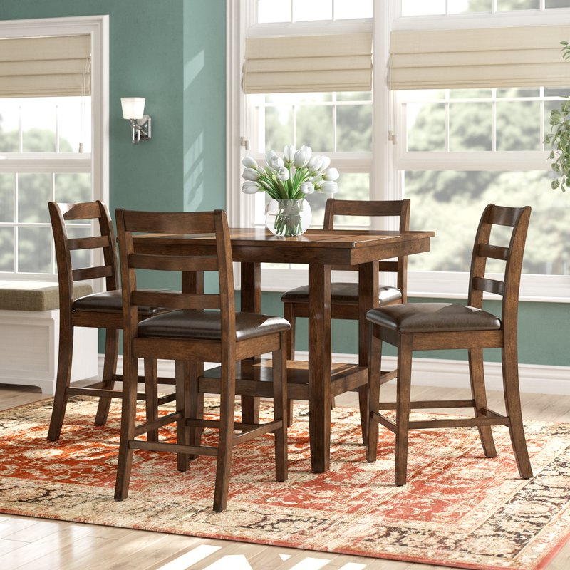 West Hill Family Table 3 Piece Dining Sets Intended For Most Up To Date Alcott Hill Gosselin Contemporary 5 Piece Counter Height Dining Set (Gallery 7 of 20)