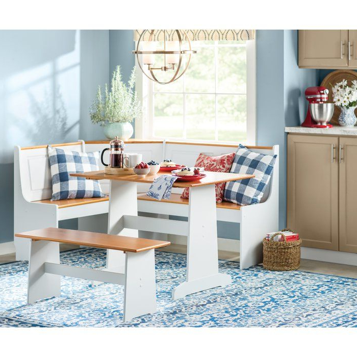 Widely Used 3 Piece Breakfast Nook Dinning Set Inside Birtie 3 Piece Solid Wood Breakfast Nook Dining Set In (View 13 of 20)