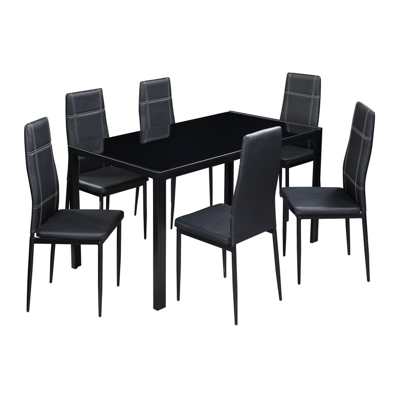 Widely Used Linette 5 Piece Dining Table Sets Inside Merax Maynard 7 Piece Dining Set & Reviews (View 20 of 20)