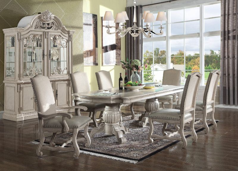 Widely Used Mitzel 3 Piece Dining Sets Pertaining To Mc Ferran Mf D9802 7Pc 7 Pc Monaco Antique White Finish Wood Double (View 18 of 20)