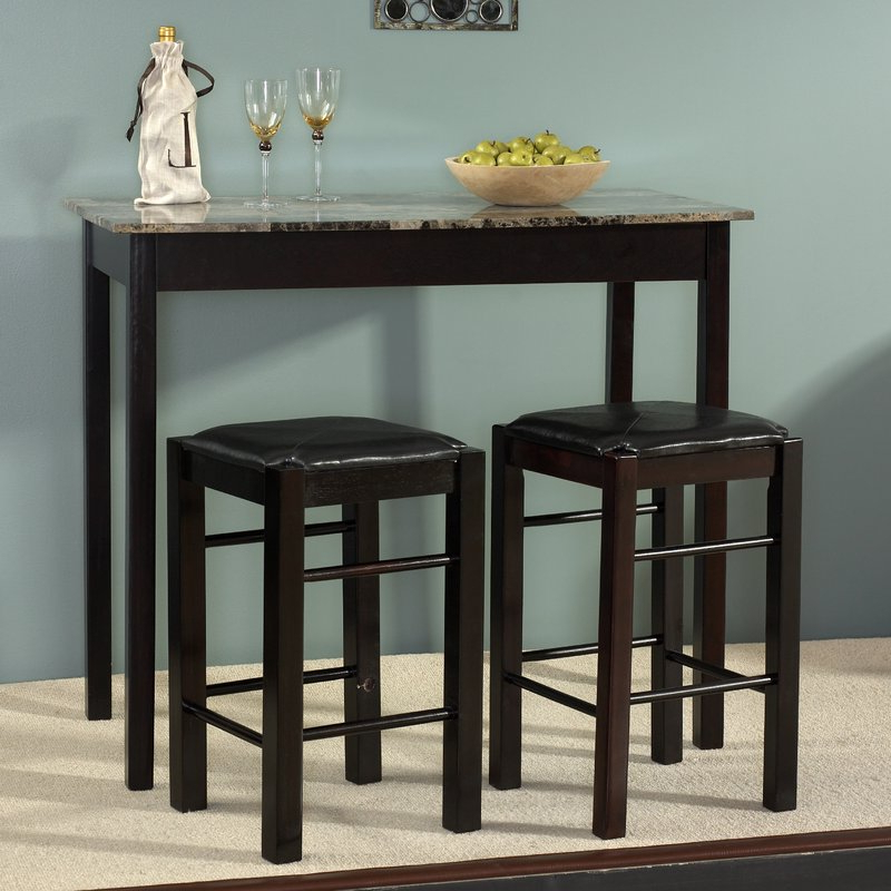 Widely Used Winsted 4 Piece Counter Height Dining Sets For Sheetz 3 Piece Counter Height Dining Set & Reviews (Gallery 6 of 20)
