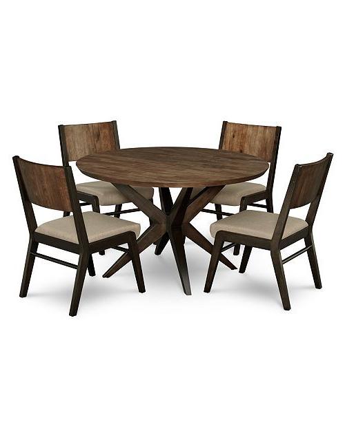 Wiggs 5 Piece Dining Sets Regarding Trendy Ashton Round Pedestal Dining Furniture, 5 Pc (View 10 of 20)