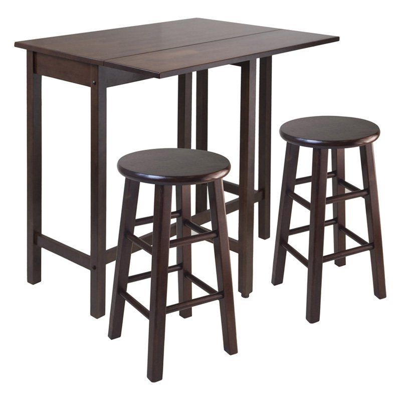 Winsome 3 Piece Counter Height Dining Sets Inside Most Recently Released Winsome Lynnwood 3 Piece Drop Leaf Island Dining Table Set (View 6 of 20)