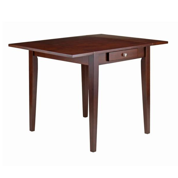Winsome Wood Hamilton Walnut Double Drop Leaf Dining Table 94141 Within Well Known Winsome 3 Piece Counter Height Dining Sets (View 18 of 20)