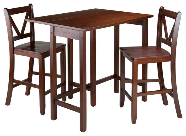 Winsome Wood Lynnwood 3 Piece Drop Leaf Table With 2 Counter V Back In Trendy Winsome 3 Piece Counter Height Dining Sets (Gallery 17 of 20)