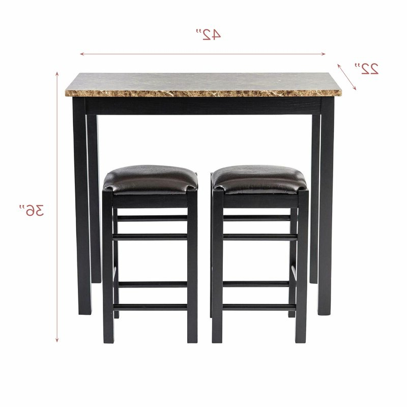 Winston Porter Moorehead 3 Piece Counter Height Dining Set & Reviews Intended For Latest Penelope 3 Piece Counter Height Wood Dining Sets (View 19 of 20)