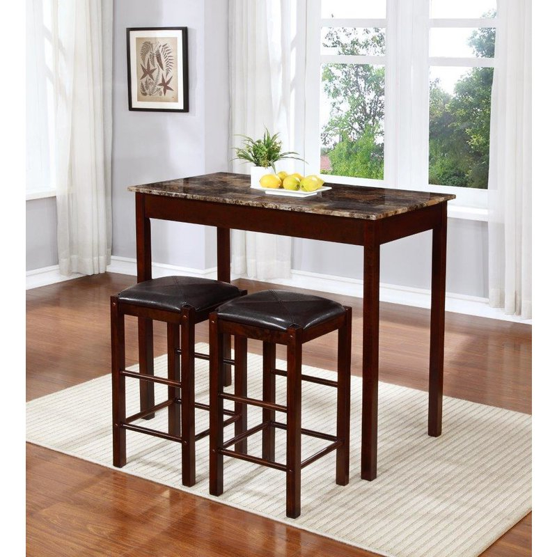 Winston Porter Rockford 3 Piece Faux Marble Counter Height Pub Table With Popular Penelope 3 Piece Counter Height Wood Dining Sets (View 20 of 20)