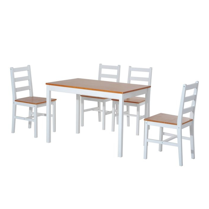 Yedinak 5 Piece Solid Wood Dining Sets Intended For Well Known Winston Porter Yedinak 5 Piece Solid Wood Dining Set & Reviews (View 19 of 20)