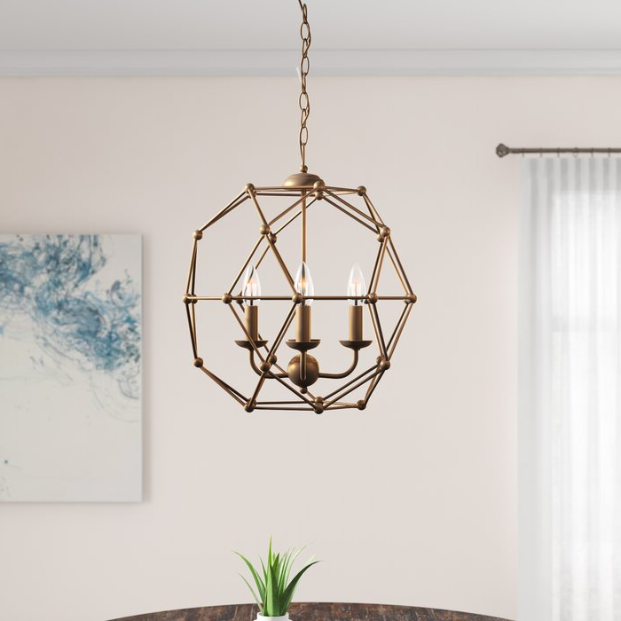 2017 Cavanagh 4 Light Geometric Chandelier Inside Cavanagh 4 Light Geometric Chandeliers (View 1 of 25)