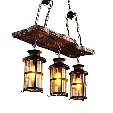2017 Jinyuze Industrial Rustic Wood Beam Antique Black Metal Pertaining To 3 Light Lantern Cylinder Pendants (View 22 of 25)