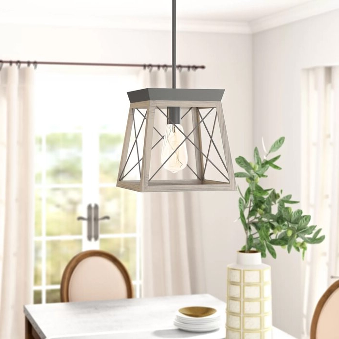 2017 Louanne 3 Light Lantern Geometric Pendants Within Delon 1 Light Lantern Geometric Pendant (View 1 of 25)