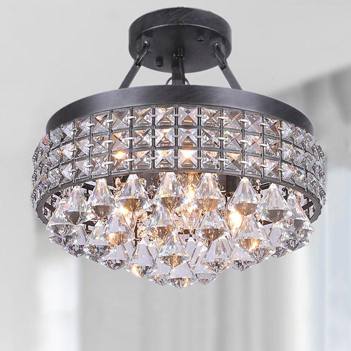 2017 Mckamey 4 Light Crystal Chandeliers Regarding Modern 4 Light Crystal Chandelier Pendant Lamp Semi Flush (View 17 of 25)
