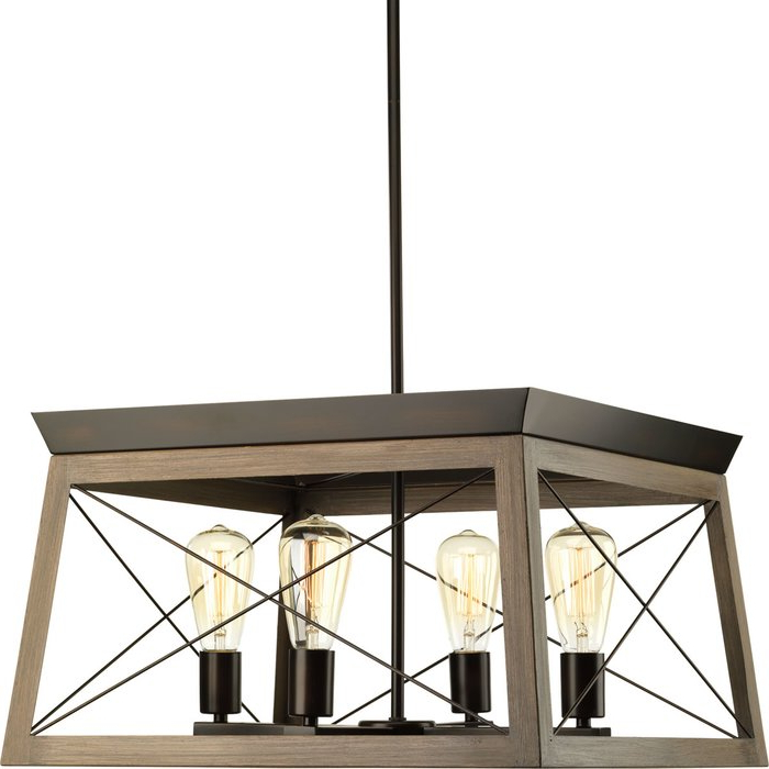 2018 Delon 4 Light Square/rectangle Chandelier With Delon 4 Light Square Chandeliers (Gallery 7 of 25)