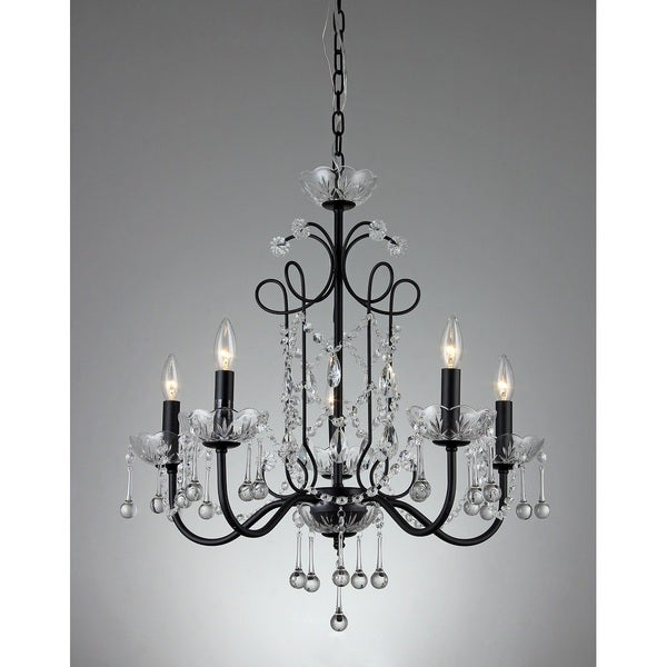 2018 Donna 6 Light Globe Chandeliers Inside Donna 5 Light Crystal 22 Inch Black Finish Chandelier (View 2 of 25)