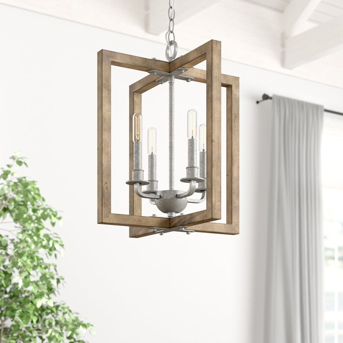 2018 Freeburg 4 Light Lantern Square / Rectangle Pendants In Daugherty 4 Light Square/rectangle Chandelier (View 25 of 25)
