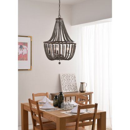 2018 Kenroy Home Dumas 93132 5 Light Wood Bead Chandelier Regarding Ladonna 5 Light Novelty Chandeliers (View 20 of 25)