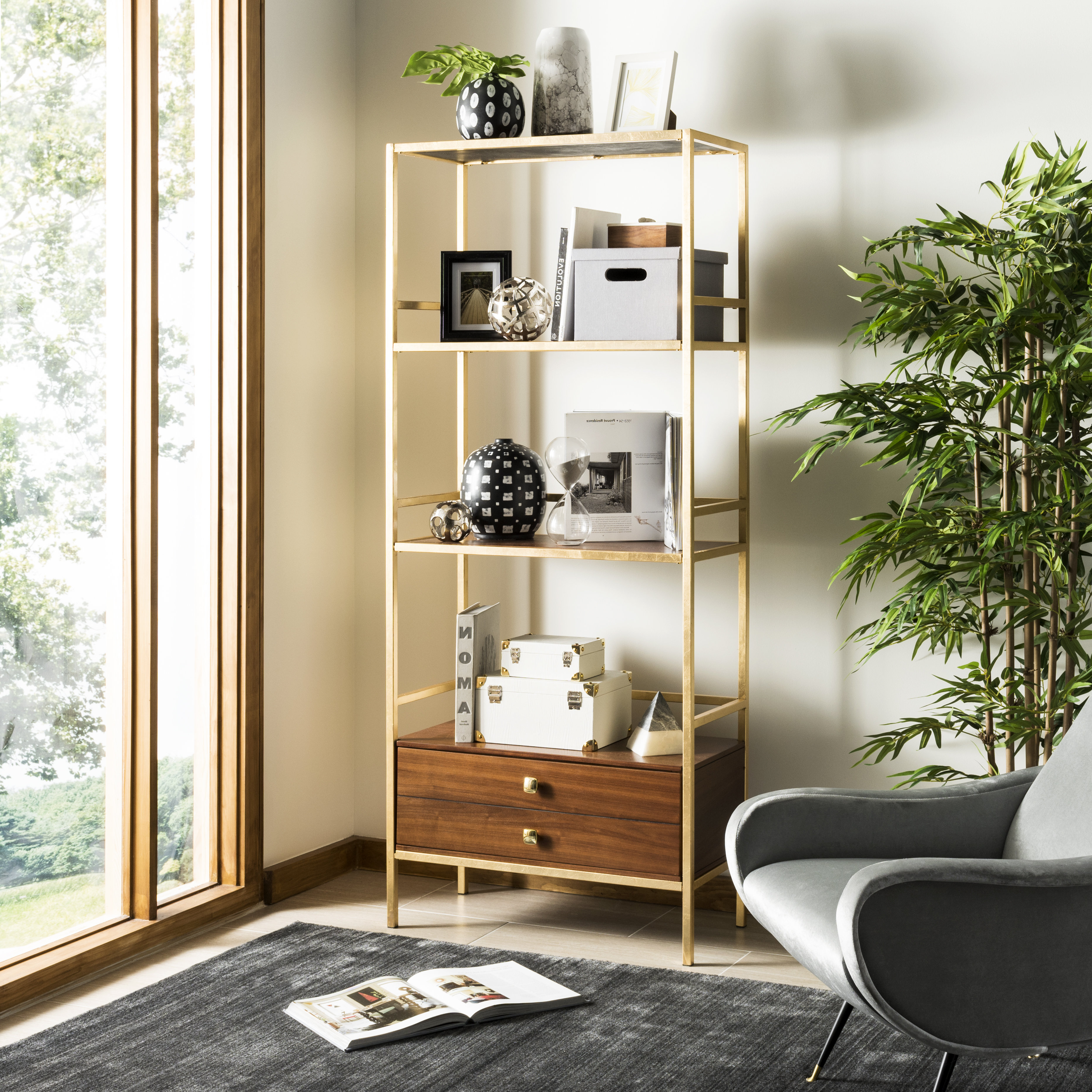 2019 Arrighetto 4 Tier Etagere Bookcase Pertaining To Rech 4 Tier Etagere Bookcases (Gallery 10 of 20)