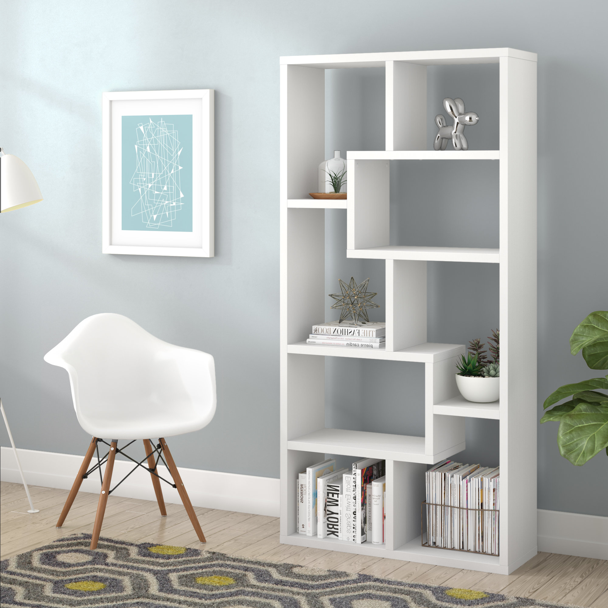 2019 Bostic Geometric Bookcases With Regard To Chrysanthos Etagere Bookcase (View 12 of 20)