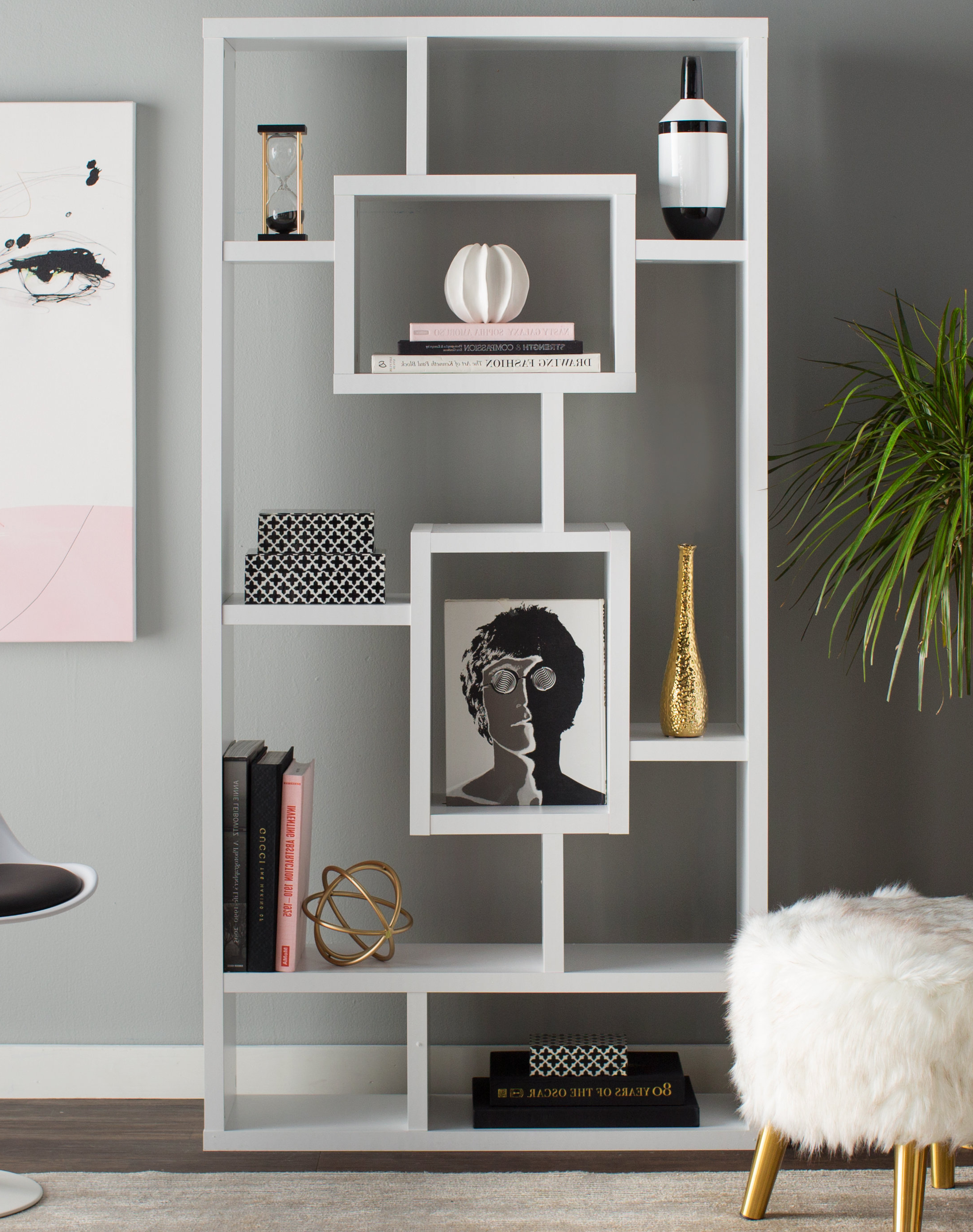 2019 Bostic Geometric Bookcases Within Mosher Geometric Bookcase (Gallery 8 of 20)