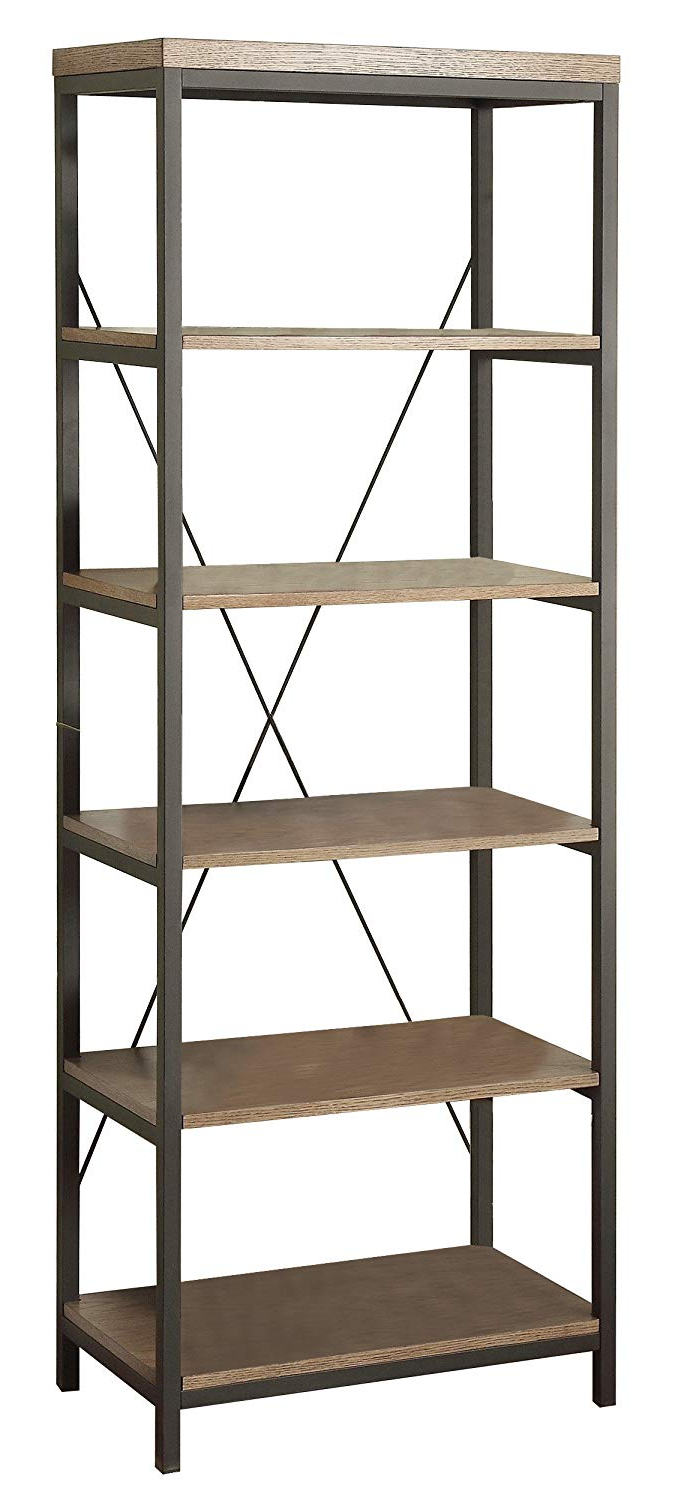 "2019 Homelegance Daria 5 Tier Bookcase, 26"" W, Brown Pertaining To Daria Standard Bookcases (Gallery 19 of 20)"