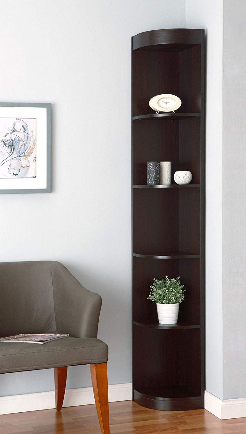 "2019 Vas Corner Bookcases For Amazon: Red Barrel Studio 77""h Fuhrmann Brown Wood (View 13 of 20)"