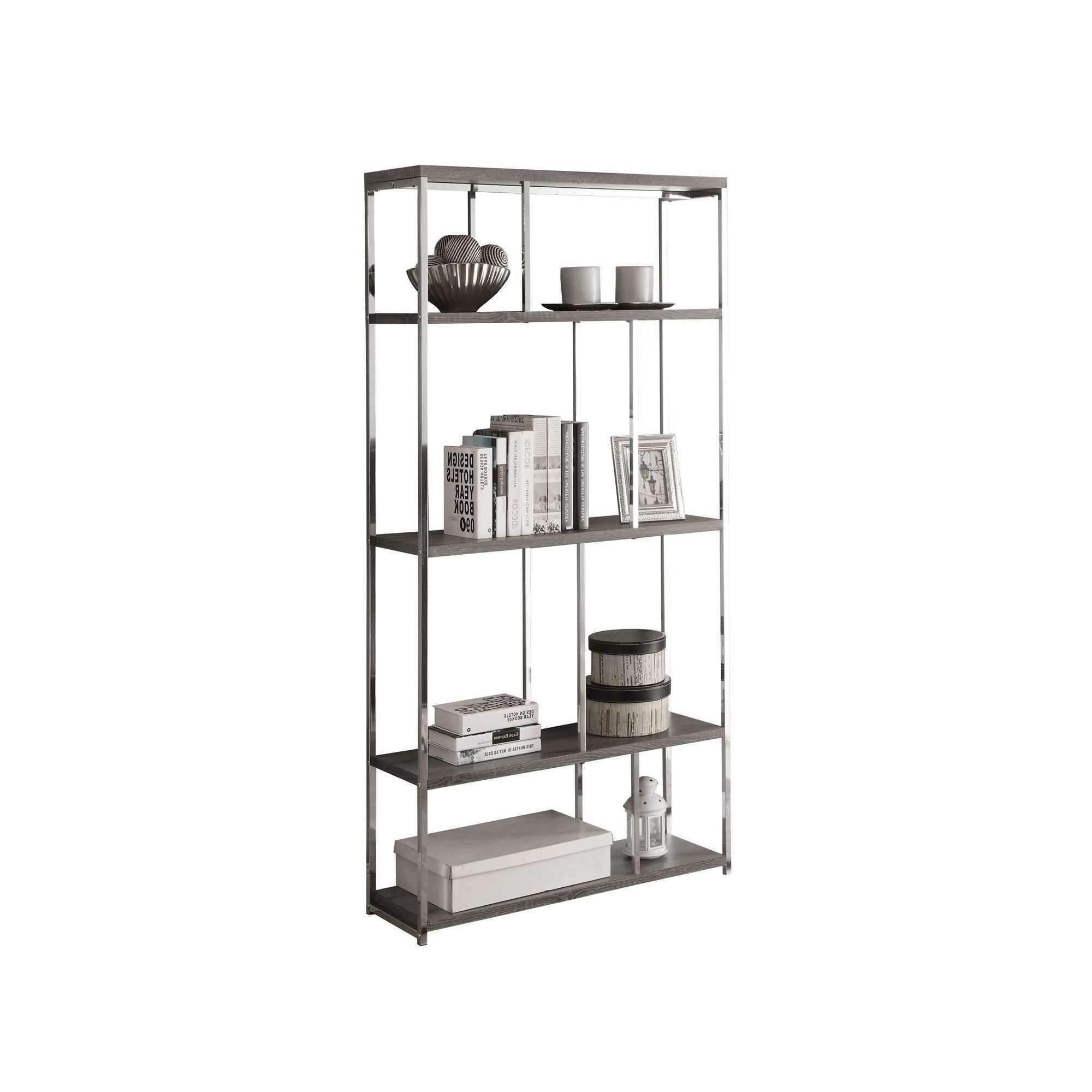 "2020 Bookcase – 72""h Dark Taupe With Chrome Metal (View 1 of 20)"