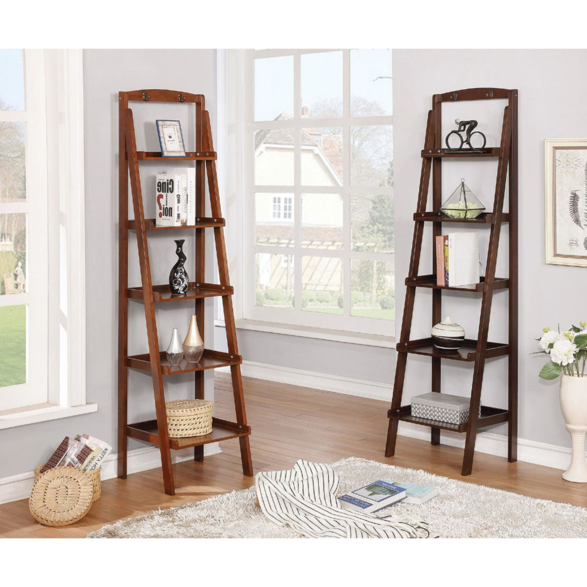 2020 Bordelon Slatted Ladder Bookcases Throughout Leedom Contemporary 5 Tier Wooden Ladder Bookcase (View 4 of 20)