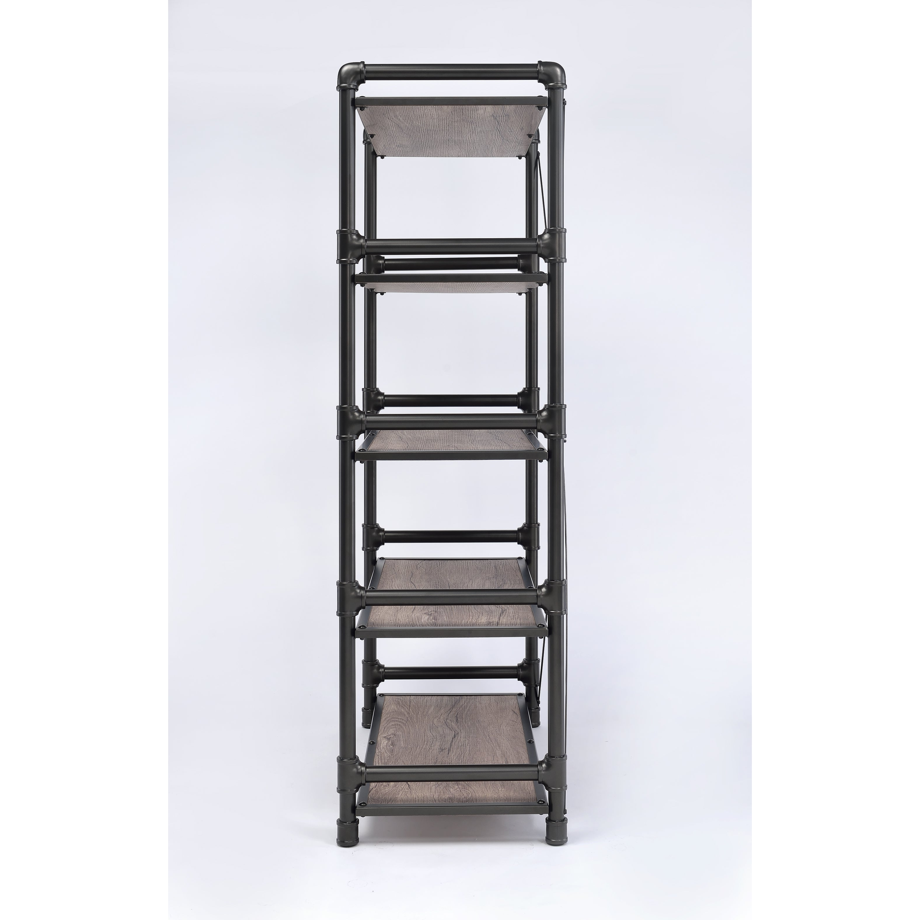 2020 Caitlyn Etagere Bookcases Regarding Caitlin Rustic Oak And Black Metal Bookshelf (Gallery 17 of 20)