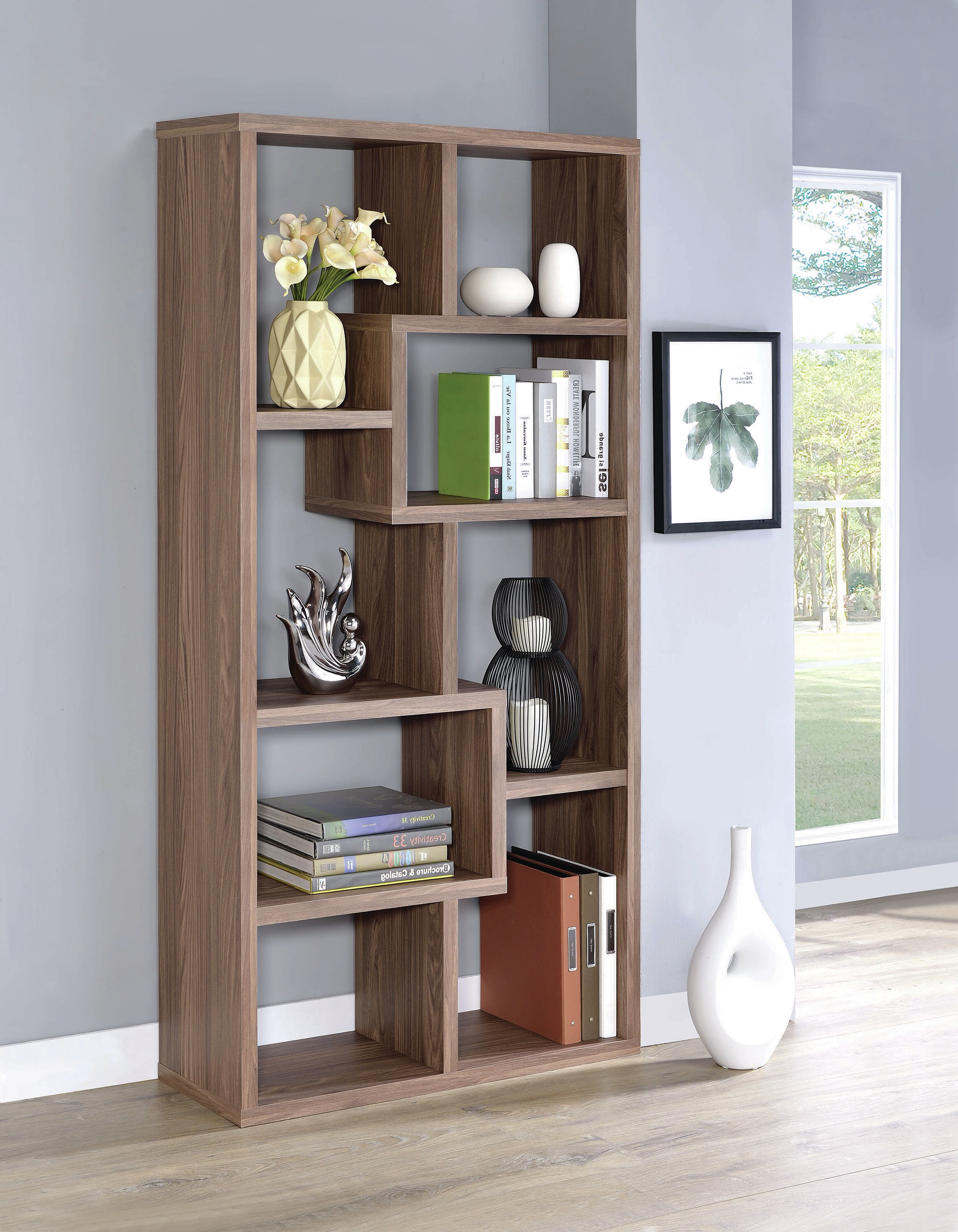 2020 Harkless Standard Bookcases Inside Harkless Geometric Bookcase (View 4 of 20)
