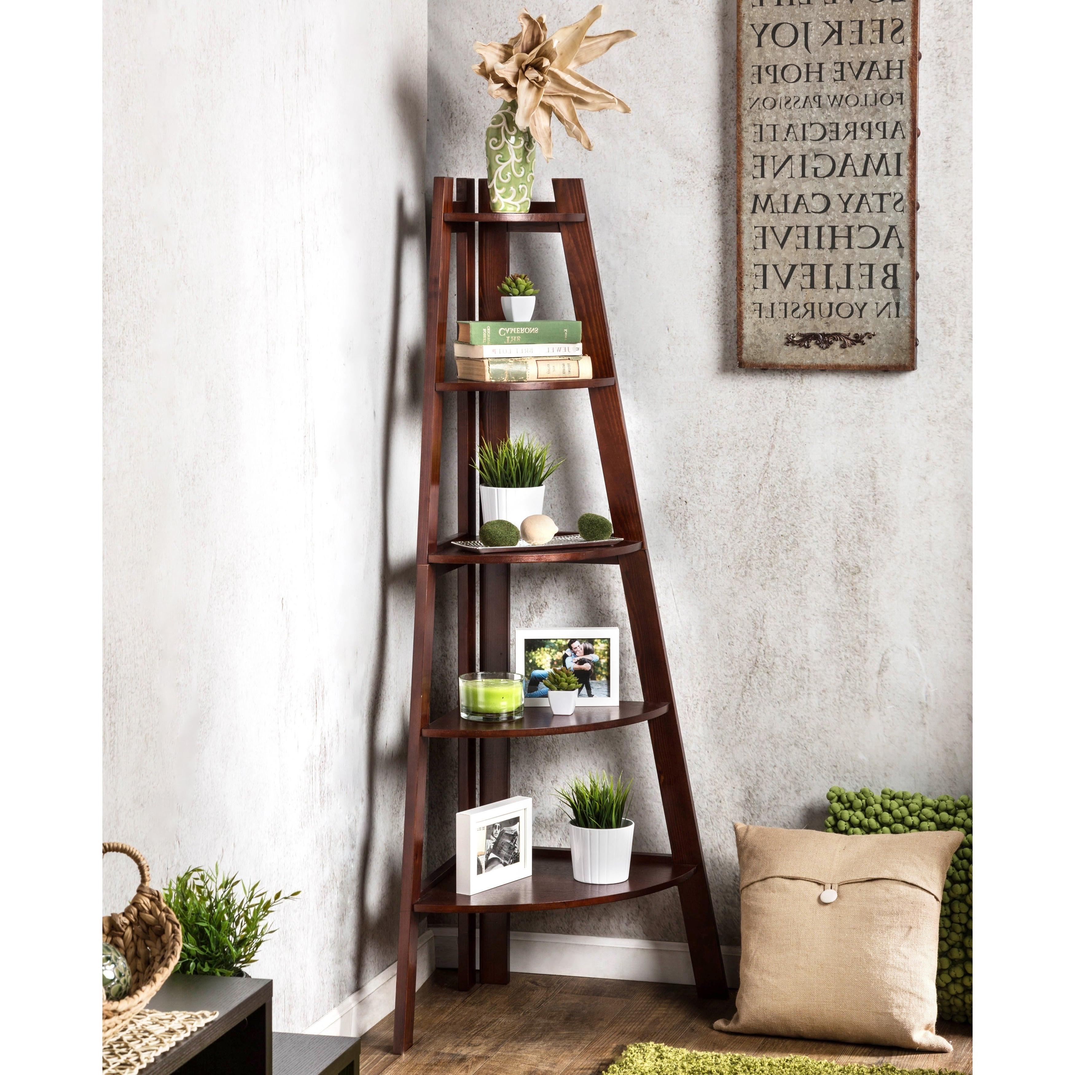 2020 Mari Wood Corner Bookcases Pertaining To Buy Wood, Corner Bookshelves & Bookcases Online At Overstock (View 1 of 20)