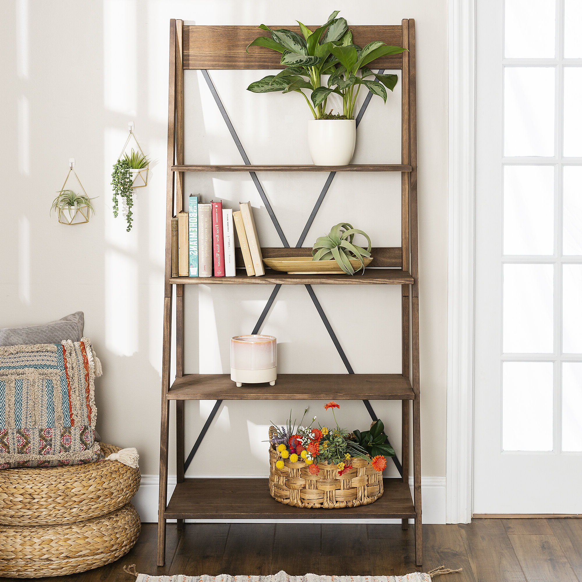 2020 Rowley Solid Wood Ladder Bookcase Inside Alfred Ladder Bookcases (View 1 of 20)