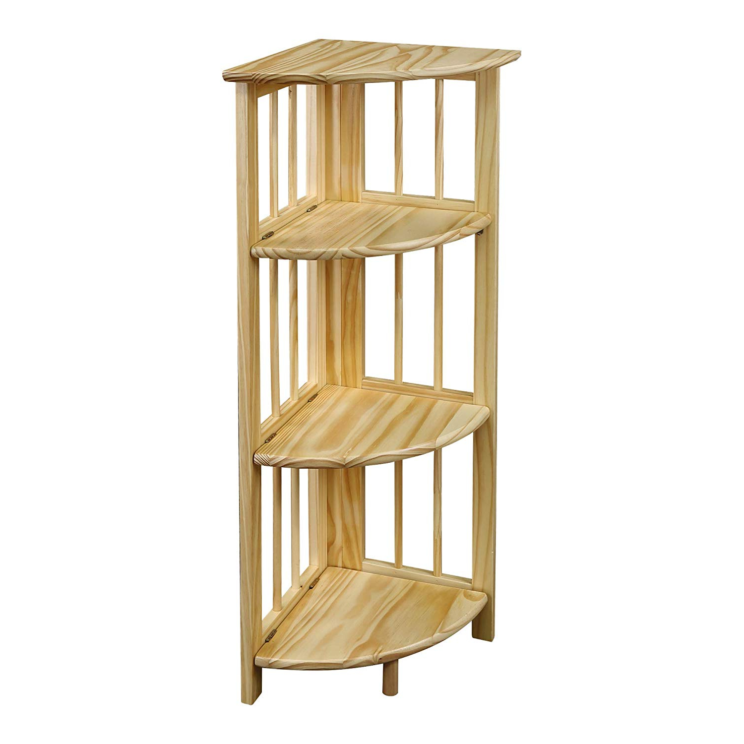 2020 Yu Shan 4 Shelf Corner Bookcase, Natural Regarding Corner Bookcases By Hokku Designs (View 2 of 20)