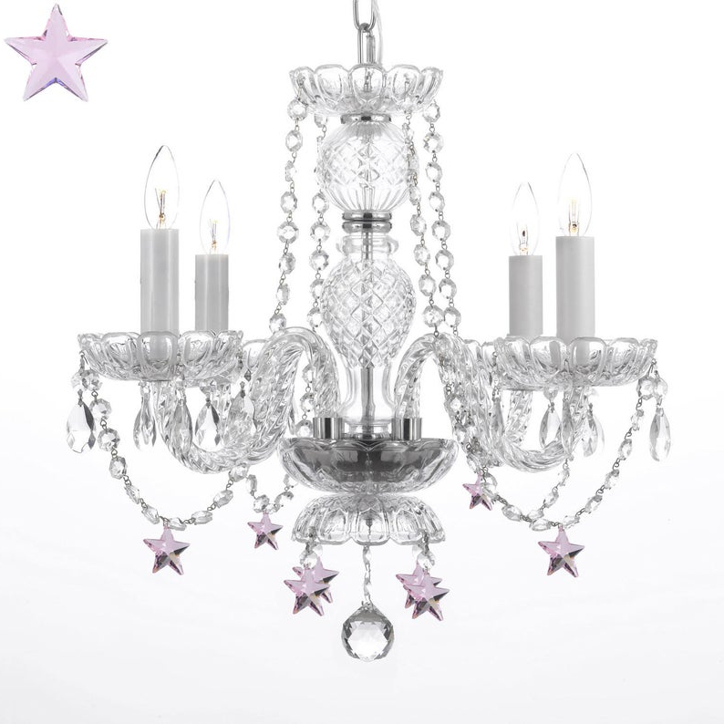 4 Light Crystal Chandelier Pendant Lighting With Pink Crystal Stars With Regard To 2018 Von 4 Light Crystal Chandeliers (View 24 of 25)