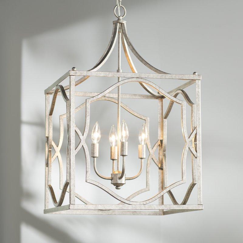 4 Light Lantern Square / Rectangle Pendants Inside Fashionable Destrey 4 Light Lantern Square / Rectangle Pendant (View 13 of 25)