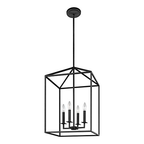 4 Light Lantern Square / Rectangle Pendants Within Trendy Sea Gull Lighting 5215004 839 Perryton Four Light Hall Or Foyer Light Fixture, Blacksmith Finish (View 17 of 25)
