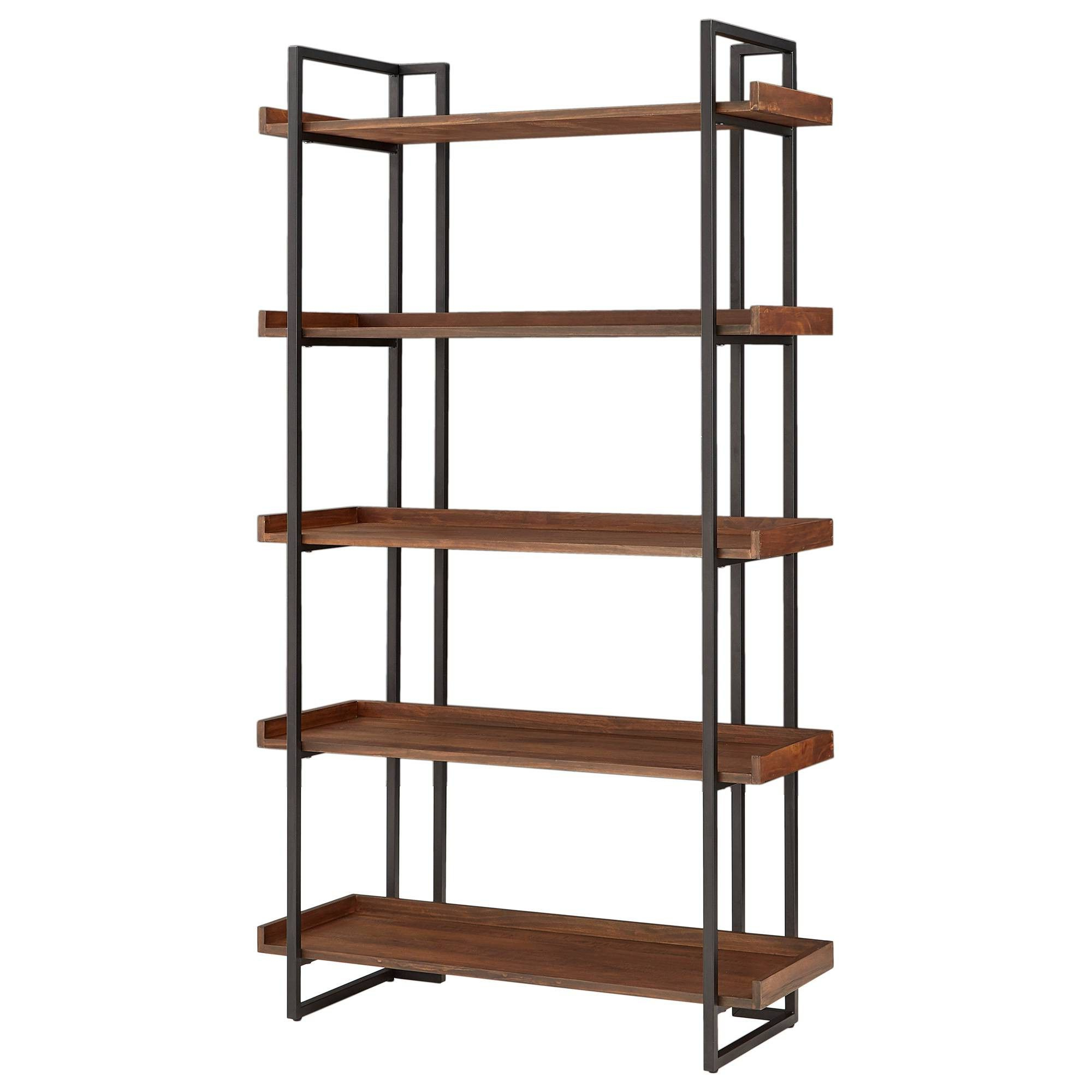 "72"" Felicia Rustic Industrial Metal/wood Etagere Bookshelf Throughout Well Liked Swindell Etagere Bookcases (View 6 of 20)"