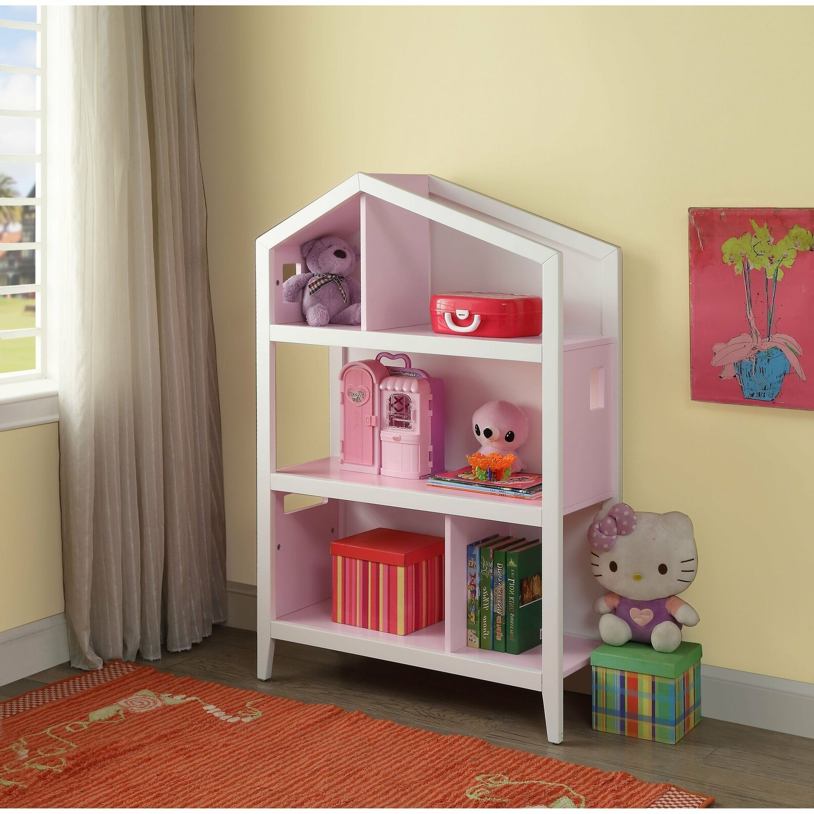 Acme Doll Cottage Bookcase With White And Pink Finish 92560 Throughout Latest Mdb Standard Bookcases (View 3 of 20)