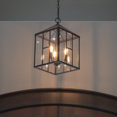 Addison Metal And Glass 3 Light Lantern Pendant (View 2 of 25)