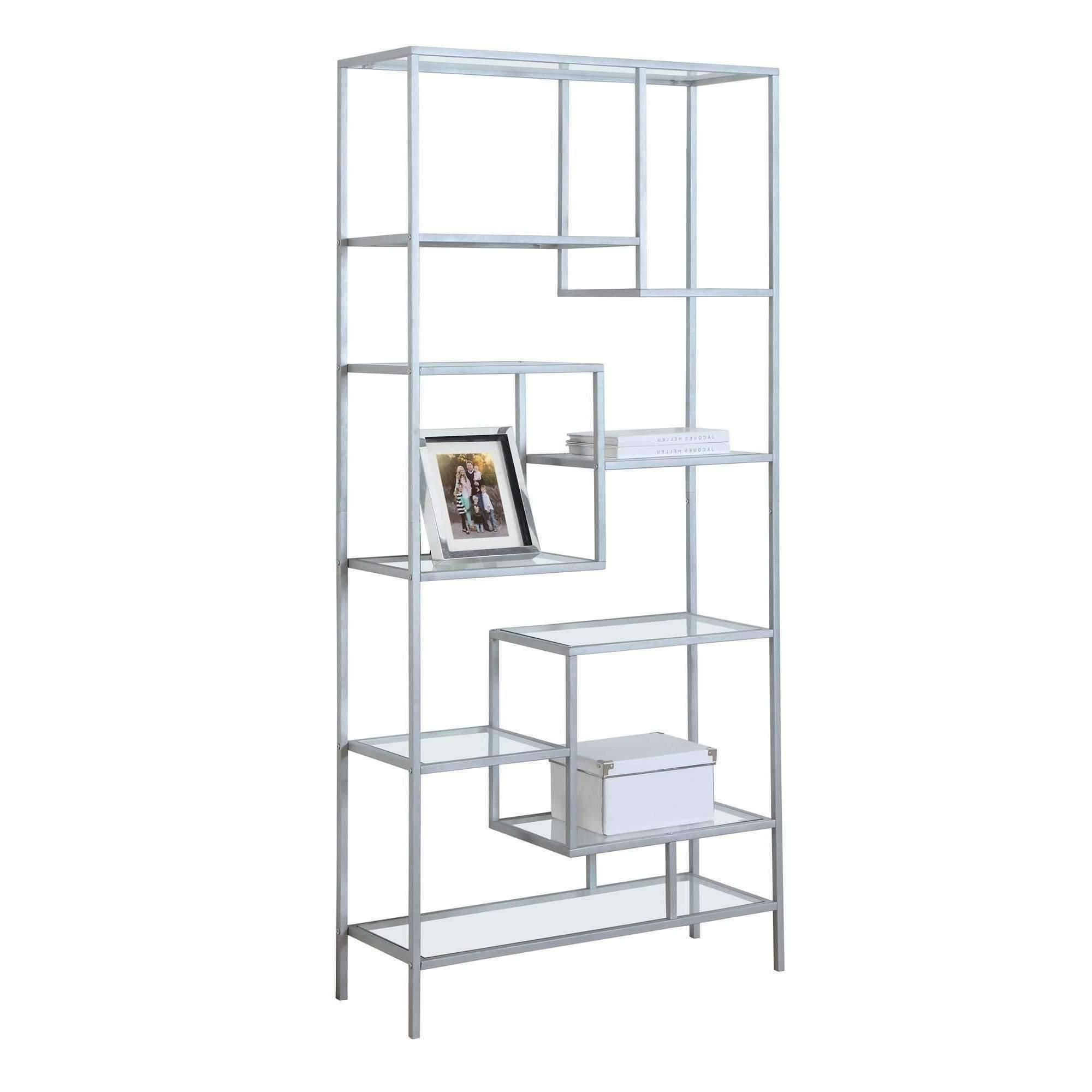 "Agatha Etagere Bookcases For Well Known Bookcase – 72""h Silver Metal With Tempered Glass (Gallery 18 of 20)"