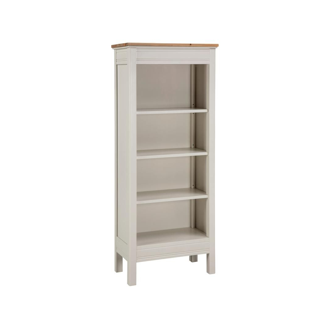 Alaterre Furniture Savannah Ivory With Natural Wood Top Tall With Well Liked Kerlin Standard Bookcases (Gallery 11 of 20)