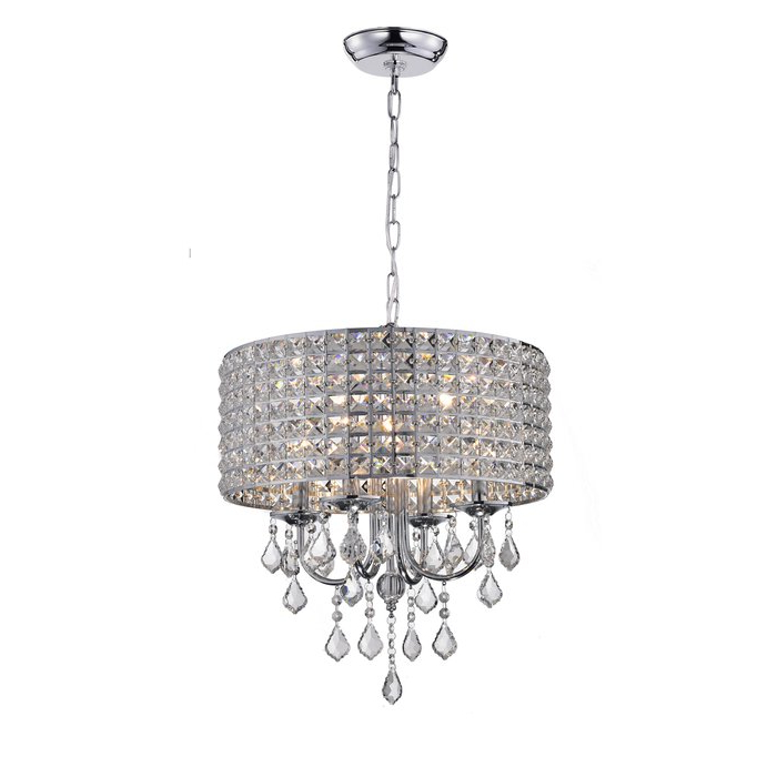 Albano 4 Light Crystal Chandelier For Trendy Benedetto 5 Light Crystal Chandeliers (View 7 of 25)