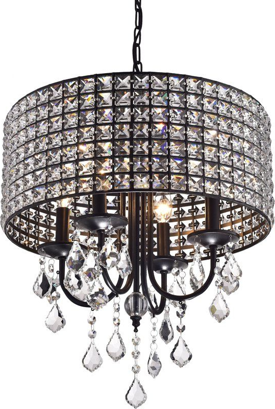 Albano 4 Light Crystal Chandelier With Well Known Gisselle 4 Light Drum Chandeliers (View 5 of 25)