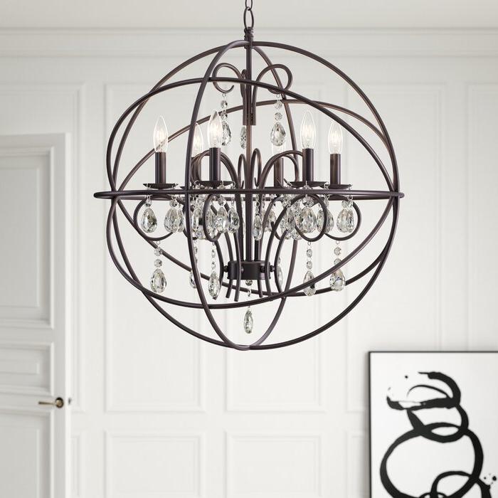 Alden 3 Light Single Globe Pendants With Regard To Recent Alden 6 Light Globe Chandelier (View 11 of 25)