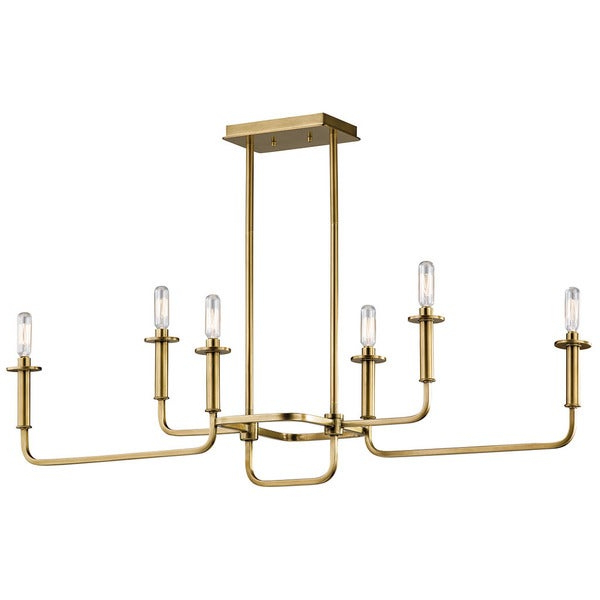 Alden 6 Light Globe Chandeliers For Fashionable Kichler Lighting Alden Collection 6 Light Natural Brass Linear Chandelier (Gallery 7 of 25)