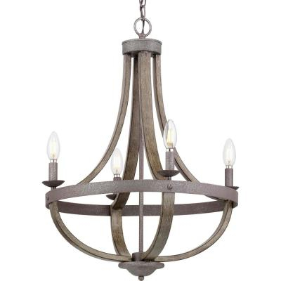 Aldora 4 Light Candle Style Chandeliers Throughout Fashionable Candle Style – Chandeliers – Lighting – The Home Depot (Gallery 24 of 25)