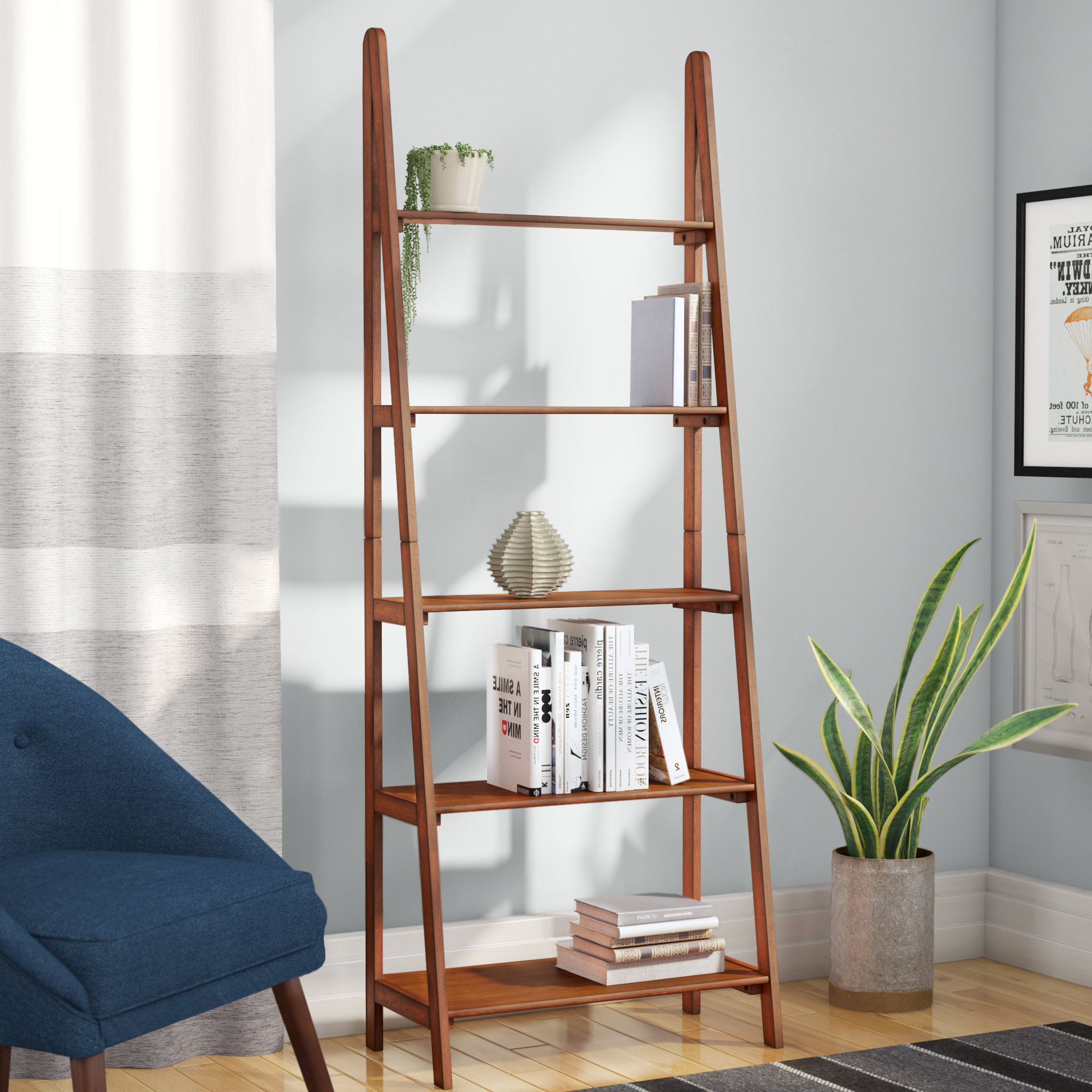 Alesha Ladder Bookcase Intended For Most Popular Brock Ladder Bookcases (View 2 of 20)