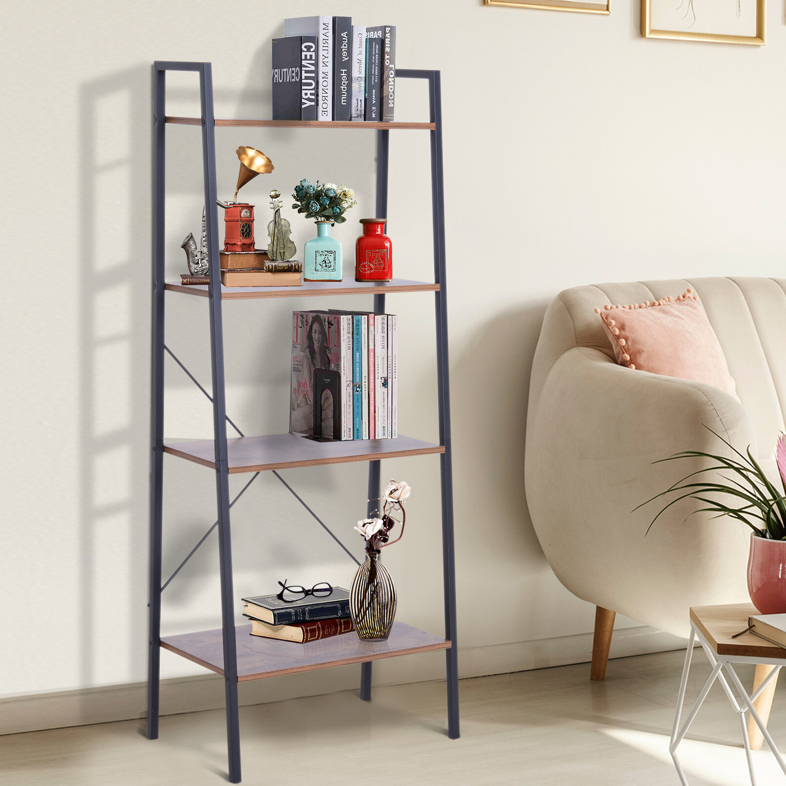 Almanzar Ladder Bookcases In Most Popular Gracie Oaks Starks 4 Tier Ladder Bookcase (View 19 of 20)