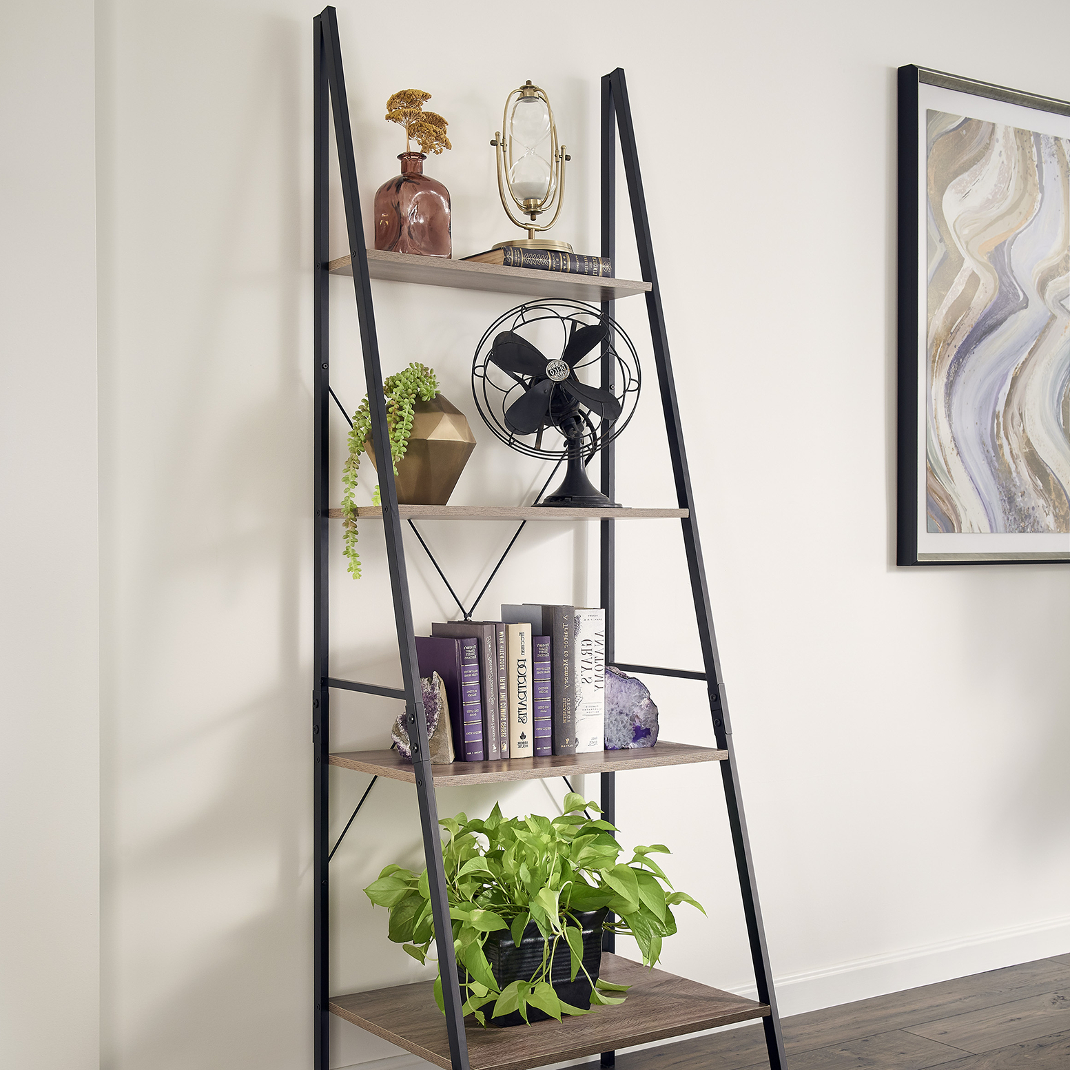 Almanzar Ladder Bookcases Inside Well Known Living Room, Office, Bedroom, Leaning Shelf, Angle Shelf (View 3 of 20)
