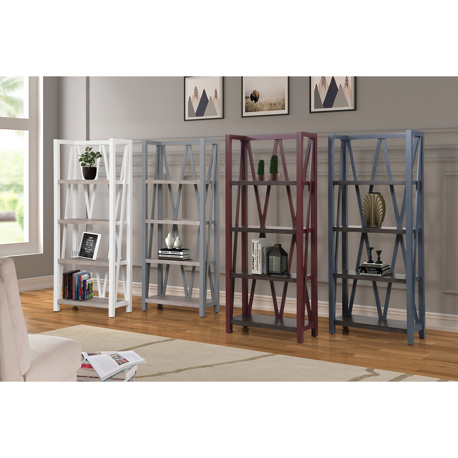Americana Modern Etagere Bookcase In Dove Grey Woodparker House Pertaining To Best And Newest Parker Modern Etagere Bookcases (View 2 of 20)