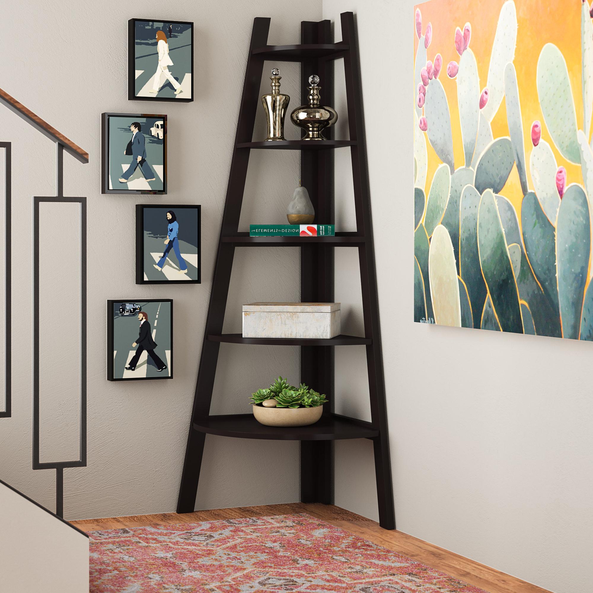 Andover Mills Mari Wood Corner Bookcase & Reviews (Gallery 2 of 20)
